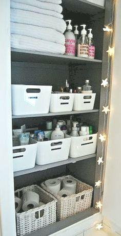 67 Super Ideas For Storage Closet Organization Diy Bathroom Bathroom Closet Organization, Closet Storage, Bathroom Storage, Organization Ideas, Storage Ideas, Bathroom Ideas, Guys Bathroom, Organized Bathroom, Paint Bathroom