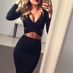 "Ladies Red Black White Long Sleeve Elastic Cotton Warm Party Dresses ""+Shiriza.com"" Vestidos Sexy Midi Pencil Club Bodycon Bandage Dress"