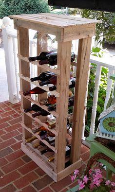 "Pallet Wood 24 bottle Wine Rack 48"" Tall Rustic Reclaimed Wine Stave, Wine Storage, Bottle Storage, Wine Decor"