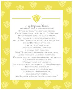 baptism towel poem lds | found this poem online and made up this little handout to go along ...