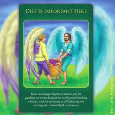 """Diet is Important Here"" of Archangel Raphael Healing Oracle Cards: Unlike other diet-related suggestions, Archangel Raphael's suggestion here is this: Instead of looking at a balanced diet as removing something enjoyable, why not reframe it so that you view nutritious foods as adding to your life's enjoyment? // Please visit my website and check the reading options #emailreading #healingreading"