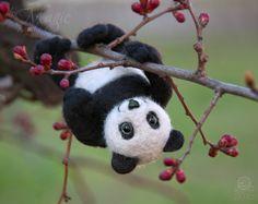 Felted panda needle felt animal wool toy felted bear by byMagic