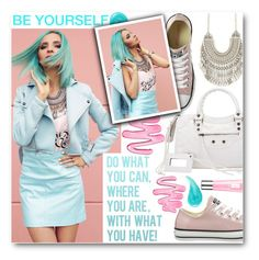 """""""Be Yourself"""" by stylemoi-offical ❤ liked on Polyvore featuring Converse, Benefit, Clinique and TrickyTrend"""