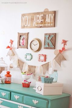 Vintage Mint and Coral Nursery with reclaimed wood décor...something to remember for the future!