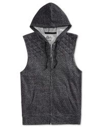 American rag Quilted Sleeveless Hoodie in Black for Men (Deep Black) | Lyst