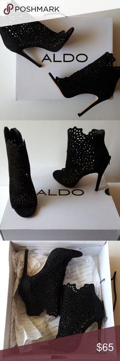 Aldo heels Cute cut out design open toe black bootie heels. Come with original box. Aldo Shoes Ankle Boots & Booties