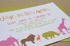 Oh, I love these invites! $20 for 10 with matching green envelopes. From deepbluesea on Etsy.