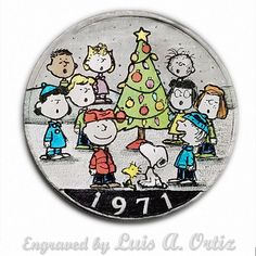 A Peanuts Xmas Ike Hobo Nickel Colored & Engraved by Luis A Ortiz Hobo Nickel, Peanuts, Hand Carved, Pin Up, Coins, Snoopy, Xmas, Carving, Things To Sell