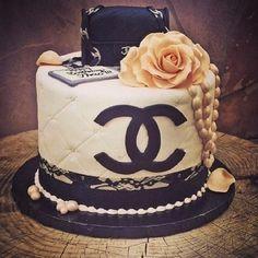 Black and White CHANEL Logo Cake