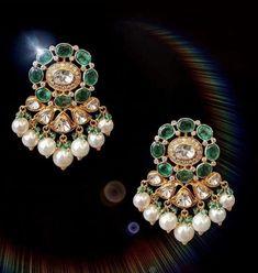 Indian Wedding Jewelry, Bridal Jewelry, Beaded Jewelry, Jewelry Necklaces, Silver Jewelry, Gold Earrings Designs, Gold Jewellery Design, Antique Jewelry, Diamond Earrings