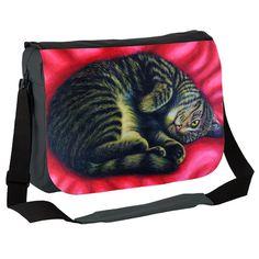 Cute Cat Curl on Red Rug Messenger Bag by simon-knott-fine-artist at zippi.co.uk