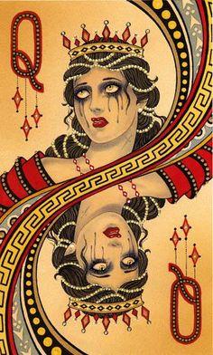 """queen of diamonds"""" - Carte - Jeux - Reine - Pic - Larmes"""
