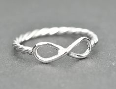 infinity ring twisted sterling silver ring initial by JubileJewel, $40.00