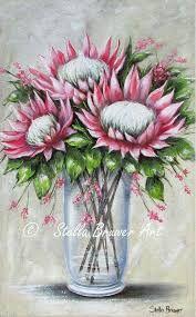prente van proteas - Google Search Protea Art, Protea Flower, Gouache Painting, Silk Painting, Watercolor Paintings, Painting Flowers, Art Floral, King Art, Chalkboard Art
