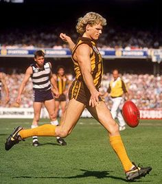 Dermott Brereton. Played 1982-1995. Games Hawthorn 189, Sydney 7, Collingwood 15. Premiership player 1983, 1986, 1988, 1989, 1991.