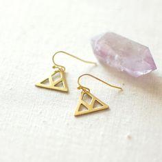 Dangle Triangle Earrings. Brass Triangle Earrings. Small  Geometric Earrings. Minimalist Jewelry. Simple Earrings. Modern Jewelry. on Etsy, £6.17