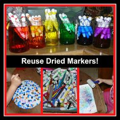 Great ideas to reuse dried up markers.