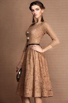 Camel brown full lace semi long sleeves midi dress by dorela.com