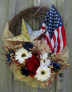 American Flag Tribute Wreath with Gold Star by NewEnglandWreath