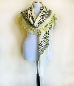 Natural Hand Print Pattern Triangular Shawl Deer by aynurdereli, $37.00