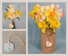 It's time to bring a springtime bouquet inside. This ceramic clay tag looks sweet tied around flower stems or hanging from a burlap vase. Choose from daffodil, tulip, hyacinth or heart tags.