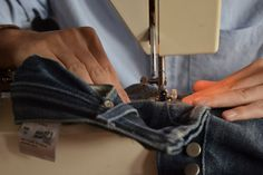 This is a great tutorial to repairing your jeans either with a sewing machine or by hand