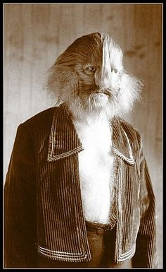 """Archetypal man to be feared, the Hairy Wild-man.  """"And Jacob said to Rebekah his mother, Behold, Esau my brother is a hairy man, and I am a smooth man"""" King James ed Bible. (Photo by Diane Arbus)"""