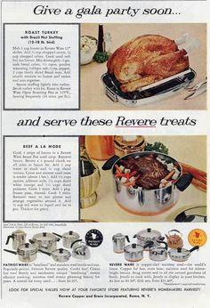 1959 REVERE WARE & Patriot Ware Copper Bottom Cookware Ad + Recipes~LHJournal
