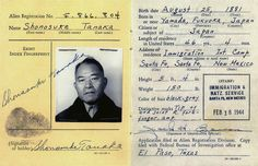 This Feb. 18, 1944, image provided by the Tanaka family shows shows the World War II alien registration card for Shonosuke Tanaka, who was among scores of people of Japanese ancestry held in captivity during the war. 22 Chilling Pictures Of Life At Japanese Internment Camps