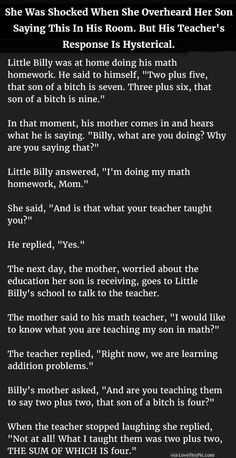 She Was Shocked When She Overheard Her Son Saying This In His Room But His Teacher's Response Is Hysterical funny jokes story lol funny quote funny quotes funny sayings joke humor stories funny kids funny jokes best jokes ever best jokes