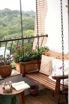 Ideas Apartment Patio Garden Ideas Tiny Balcony Outdoor Spaces For 2019 Small Balcony Design, Tiny Balcony, Small Balcony Decor, Outdoor Balcony, Outdoor Decor, Balcony Swing, Outdoor Spaces, Porch Swing, Small Balconies