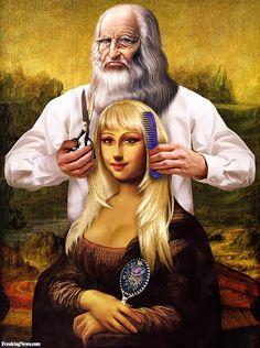 Cosmetic Studio of Leonardo Da Vinci Pop Art, Mona Lisa Smile, La Madone, Mona Lisa Parody, Plastic Art, Altered Images, Many Faces, Italian Artist, Cultura Pop