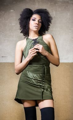 Facts: - Material: Cotton Lycra - Modelsize: Our Model wears size S - Care Instructions: no tumble dry, Mashine wash Pixie Outfit, Cyberpunk Clothes, Dystopian Fashion, Witch Dress, Goddess Dress, Yoga Wear, Steampunk Clothing, S Models, Green Dress