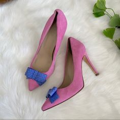 Crew Pink Blue size Heels at a discounted price at Poshmark. Bow Heels, Pumps Heels, J Crew Shoes, Pink Pumps, Snake Skin, Pink Blue, Bows, Leather, Fashion