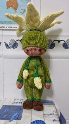 Zabbez pattern modification: Lily flower doll made by Eugenia H P - crochet pattern by Zabbez