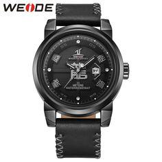 WEIDE Brand Men Watches Leather Strap 30M Water Resistance Analog Date Unique Dragon Dial Military Quartz Men Business Watch