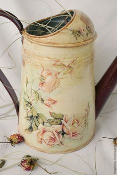 Лейки ручной работы. Ярмарка Мастеров - ручная работа. Купить Лейка Винтажные розы. Handmade. Бежевый, ретро
