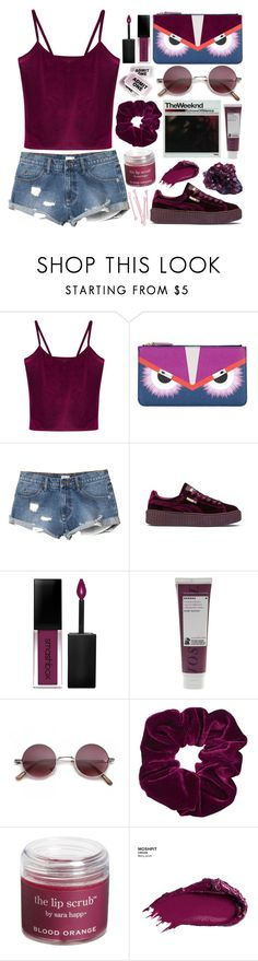 """echoes of silence"" by sarase ❤ liked on Polyvore featuring WithChic, Fendi, RVCA, Puma, Smashbox, BOBBY, Korres, Topshop, DK and Sara Happ"