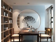 The decoration in this room helps to show that it is japanese modern. I really like the circle cut out in the wall because it helps add demension and style. Modern Chinese Interior, Asian Interior Design, Chinese Architecture, Interior Architecture, Interior Chino, Chinese Tea Room, Zen Interiors, Chinese Design, Chinese Style
