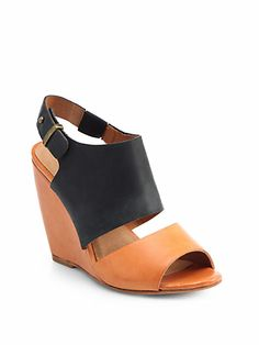 Joie - Ashland Bicolor Leather Wedge Sandals - Saks.com