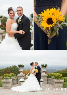 Bride and Groom Portrait :: Navy Bridesmaid Dress with Sunflower Bouquets :: Fall Wedding at The Log Cabin in Easthampton, Massachusetts : Michelle Girard Photography and Design