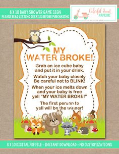 INSTANT DOWNLOAD, Woodland Baby Shower, My Water Broke, My Water Broke Baby  Game Sign Baby Shower Game, Woodland, #0003