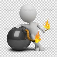 3d small people - bomb by AnatolyM 3d small person bomb igniting the wick. 3d image. Transparent high resolution PSD with shadows. Alpha channel.