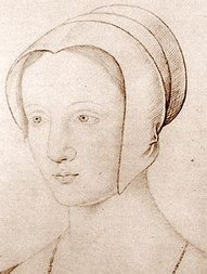 Mary Tudor in a coif as a widow. while it shows two lines forming around the head, the artist shows no evidence of pleating or gathering