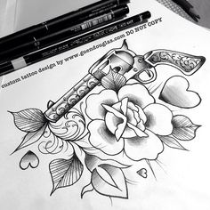 For tomorrow! Inner arm… She wanted a gun with a flower, inspired by anti war protest posters… #tattoo #tattoos #rose #vines #roses #rosebud #gun #pistol