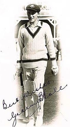 188-Graeme Blake Hole played 18 Tests for Australia from 1951 to 1955. The verdict on his Test career was that it was deeply disappointing to the player and selectors who kept faith with him for as long as possible. He played the final Test at Melbourne in 1950-51, a series against South Africa in 1951-52 then England in 1953 before his final series against Hutton's team in Australia. In Tests he scored 789 runs at 25.45, took three wickets at 42.00 and made 21 catches.