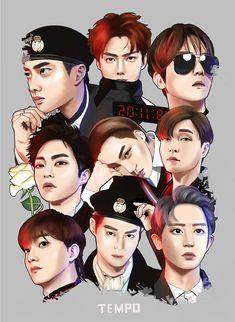 Fanbook : fan art social platform exo in 2019 Baekhyun Fanart, Kpop Exo, Exo Chanyeol, Kpop Fanart, Exo Stickers, Chibi, Kai, L Wallpaper, Exo Anime