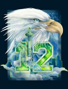 GO HAWKS! Beautiful artwork by Jody Bergsma done in vibrant color. A perfect gift for a Seattle Seahawks Fan! Seahawks Players, Seahawks Fans, Seahawks Football, Nfc Teams, Nfl Football Teams, Football Memes, Cowboys Memes, Baseball Games, Seattle Seahawks Logo