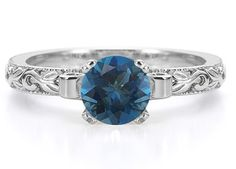 ApplesofGold.com - London Blue Topaz Art Deco Ring in Sterling Silver, $175!