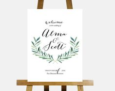 Printable Wedding Welcome Sign Customized Signage Diy Digital Reception Green Laurel